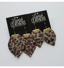 Large Leopard Lavish Leather Flutter Earrings