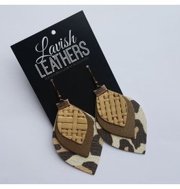 Medium Muted Cheetah Print Lavish Leathers Triple Drop Earrings