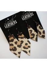 Sm. Almond Cheetah Lavish Leathers Jewel Cut Earrings