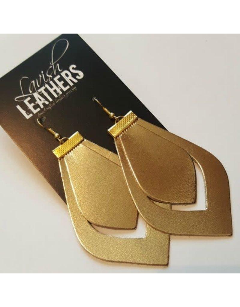 Med. Gold Lavish Leathers Double Cut Drop Earrings