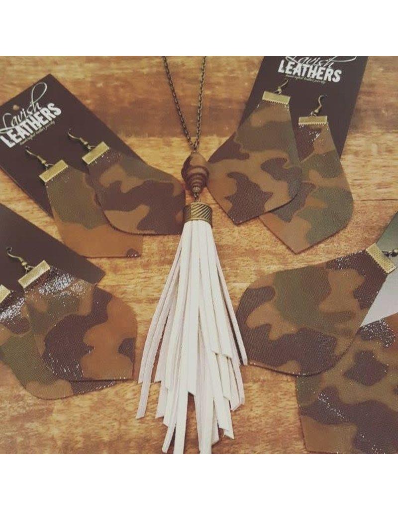Med. Shiny Camo Lavish Leather Drop Earrings