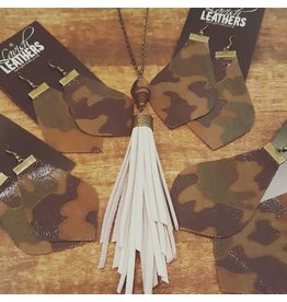Small Shiny Camo Lavish Leathers  Drop Earrings