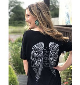 Angel Wing - His Feathers V-Neck Tee in Black