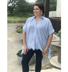 Collared V-Neck Blue Striped + Top