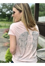 Angel Wing - His Feathers Distressed Pink Tee
