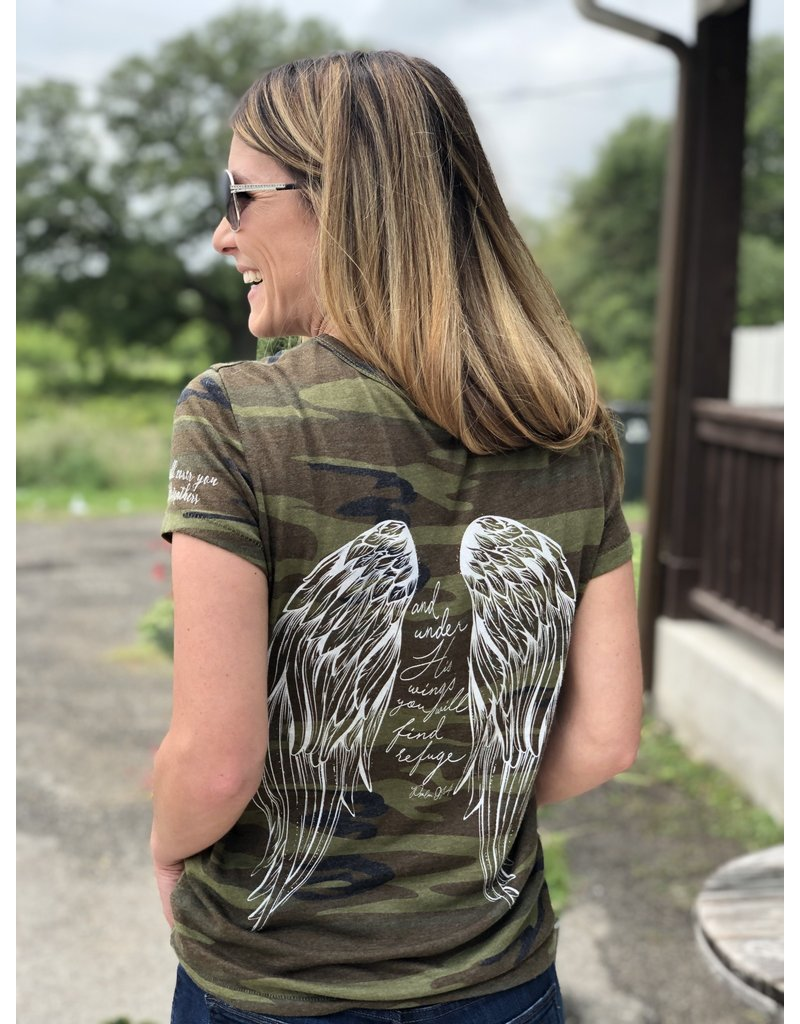 Angel Wing - His Feathers Tee Green Camo