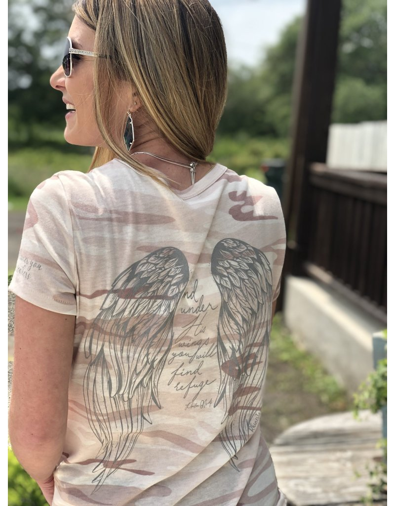 Angel Wing - His Feathers Tee Pink Camo