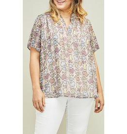 Multi Colored Snake Print Top + Plus