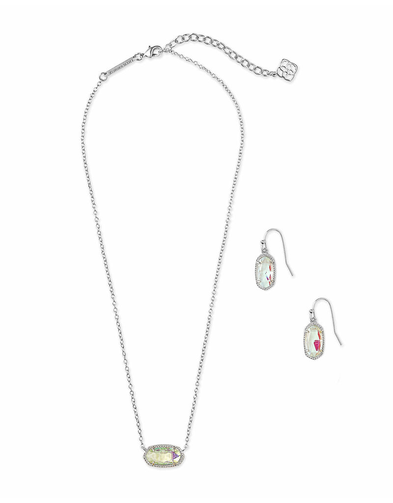 Kendra Scott Gift Set Lee & Elisa Silver Dichroic Glass