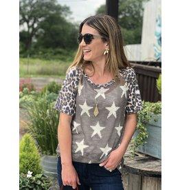 Grey Star Sweater w/Leopard Sleeves