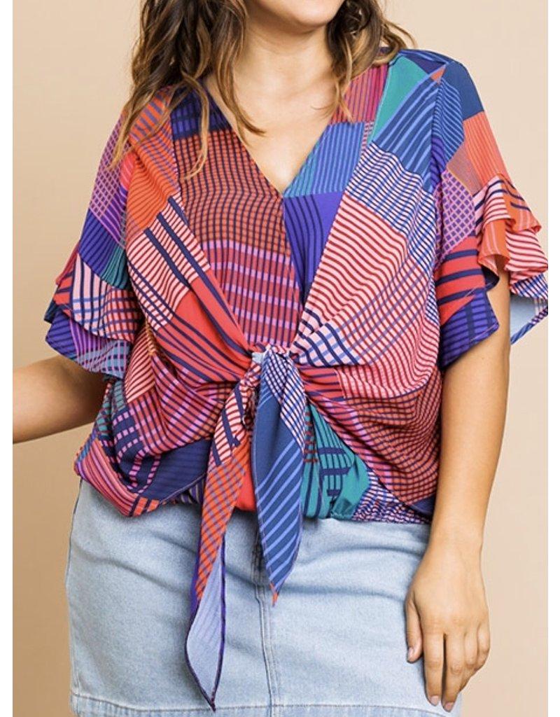 Geometric Print V Neck Tie + Plus Top