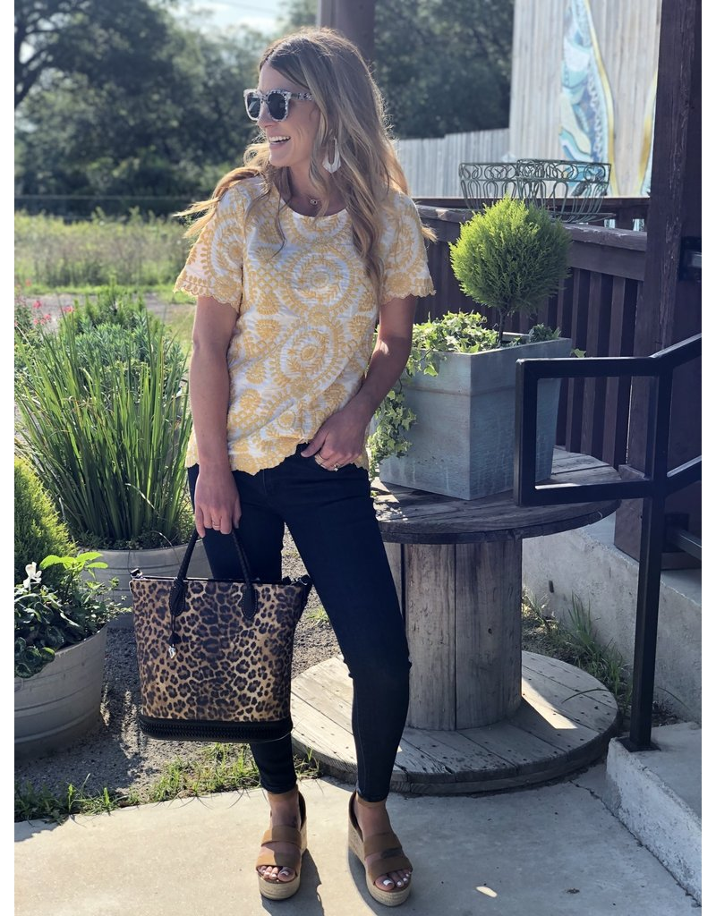 Mustard/White Short Sleeve Embroidery Top