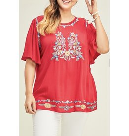 Deep Red Embroidered + Plus Top