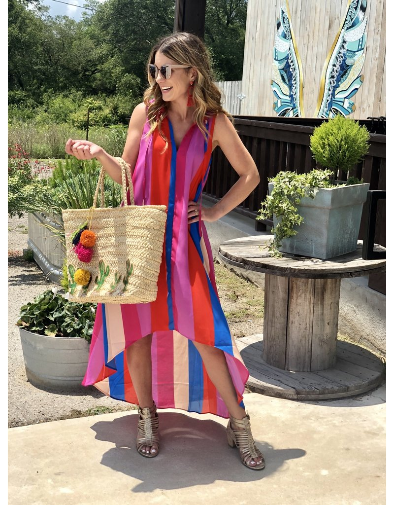 Wide Striped Color Block High/Low Maxi Dress