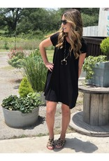 Black Basic Short Sleeve Pocket Tee Dress