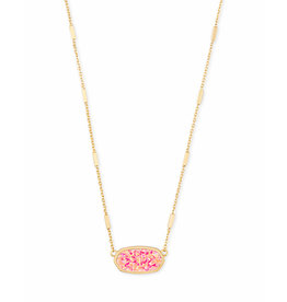 Kendra Scott Miley Necklace in Gold Hot Pink Opal