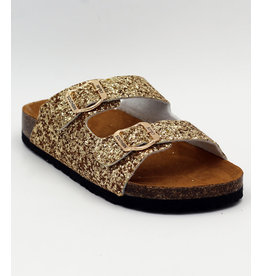 Gold Glitter 2 Buckle Sandal