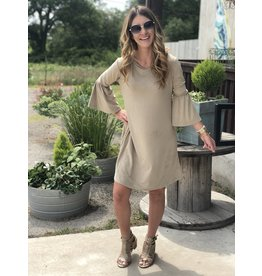 Taupe Faux Suede Bell-Sleeve Dress