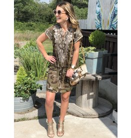 Camo Dress w/Ivory Embroidered Detail
