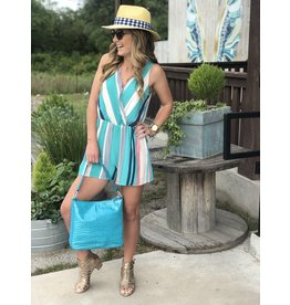 Emerald Aqua Striped Romper