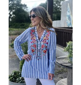 Blue & White Striped Embroidered Top