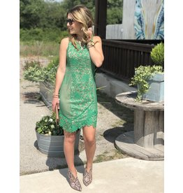 Green Lace Dress with Nude Sheath Dress