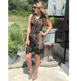 Black Lace Dress with Nude Sheath Dress