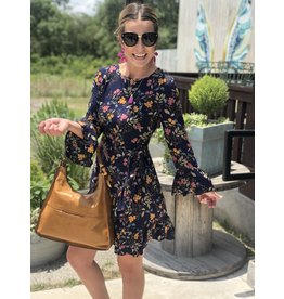 Navy Floral Dress with Ruffle Detail