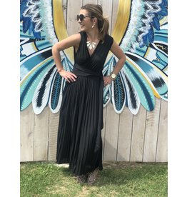 Black Pleated V-Neck Jumpsuit