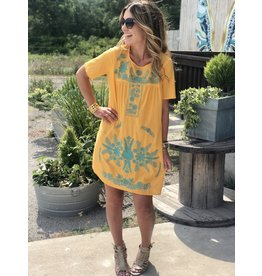 Sweetheart Mustard & Turquoise Embroidered Dress