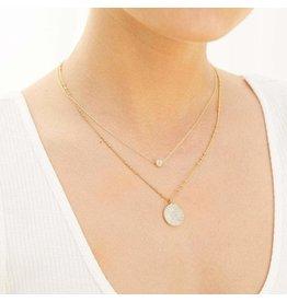 Gorjana Pristine CZ Coin Necklace in Gold