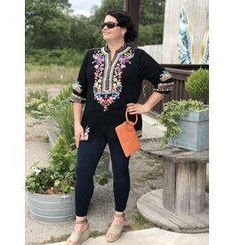 Fiesta Breeze Embroidered Top in Black