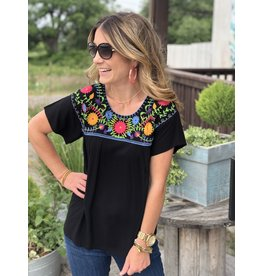 Fiesta Top Embroidered in Black