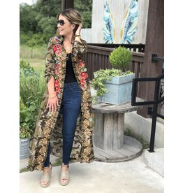 Camo Dress Duster with Embroidered Detail