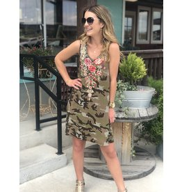 Camo Dress w/ Multi Floral Embroidered Detail