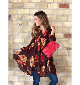 Curvy Floral Long Sleeve V-Neck Dress - Wine