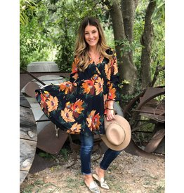Curvy Floral Long Sleeve V-Neck Dress - Navy