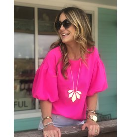 Puff Sleeve Top in Barbie Pink