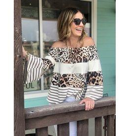 Off Shoulder Leopard Color Block Top
