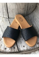 Agave Sky Ostrich Sandals in Black