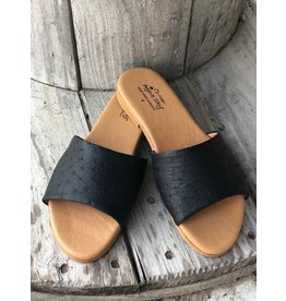 Agave Sky Ostrich Sandals in Black