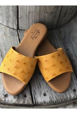 Agave Sky Ostrich Sandals in Mustard