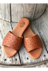 Agave Sky Ostrich Sandals in Burnt Umber