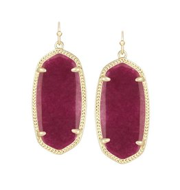 Kendra Scott Elle Earrings Gold Maroon Jade