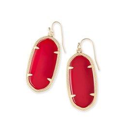 Kendra Scott Kendra Scott Elle Earrings in Bright Red on Gold