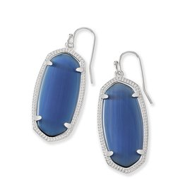 Kendra Scott Elle Earrings Silver Navy Cats Eye