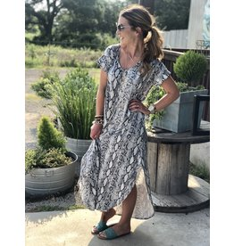 Grey Snakeprint Maxi Dress