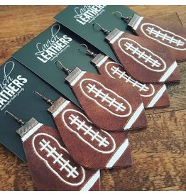 Medium Lavish Leather Football Earrings