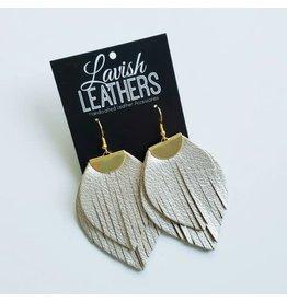Large Metallic Silver Flutter Earrings