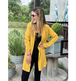 Cardigan Jacket w/ Roll-Up Sleeve in Mustard